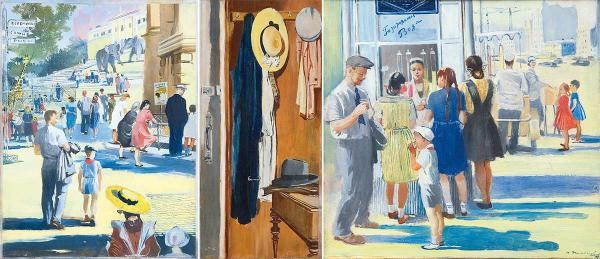 ПИМЕНОВ Юрий Иванович (1903–1977) Три иллюстрации к книге С. Я. Маршака «Хороший день». 1948