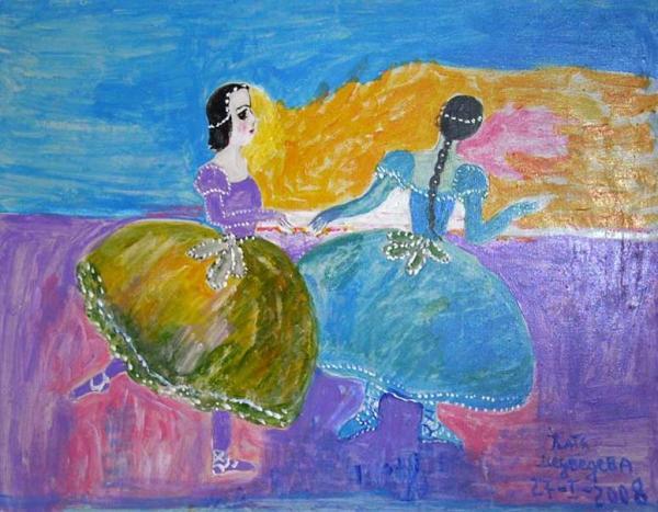 КАТЯ МЕДВЕДЕВА. Две балерины. 2008. Холст, акрил. 60 х 80. Выставка «Широкая масленица». 2008