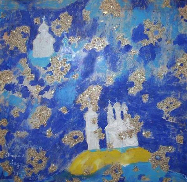 КАТЯ МЕДВЕДЕВА. Старая Ладога. 2007. Стекло, масло, см. т. 70 х 70. Выставка «Широкая масленица». 2008
