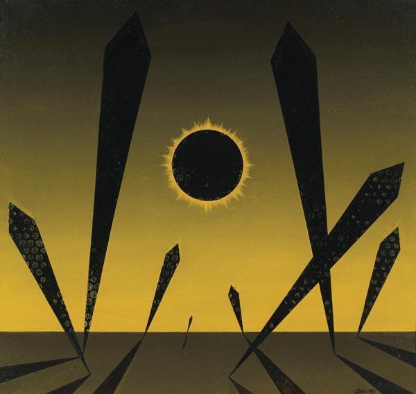 НИКОЛАЙ ВЕЧТОМОВ Черное солнце. 1990 Холст, масло. 65 x 70 Коллекция А. Глезера Оценка аукциона (эстимейт): 10–20 тыс. фунтов Прогноз D: 25 тыс. фунтов MacDougall's. 15.06.07. Лот № 211